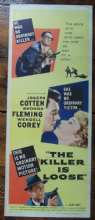 Killer is Loose, Insert Movie Poster, Joseph Cotten, Rhonda Fleming, '56